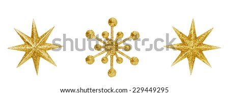 Christmas Snowflake Star Hanging Decoration, Golden Decorative Xmas Toys Ornate Isolated Over White Background - stock photo