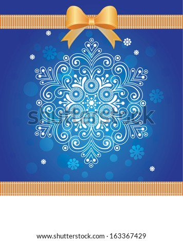 Christmas Snowflake with ribbon bow. Greeting card, banner design template for Christmas time and New Year.