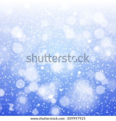 Christmas snowflakes blurred  background.  illustration. art blue - stock photo