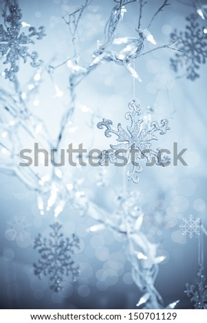 Christmas  Snowflakes on a blue background  - stock photo