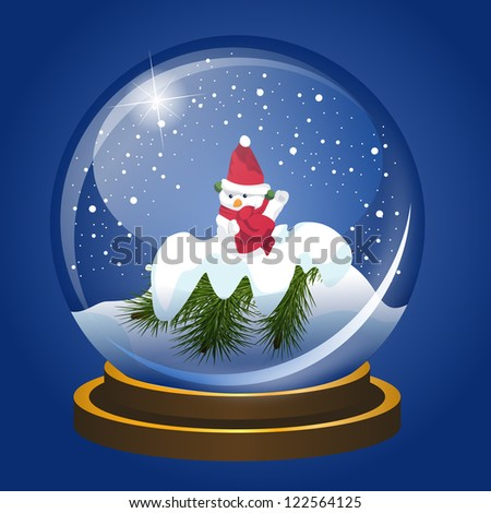 Christmas snowglobe with snowman and falling show. Vector EPS10. - stock photo