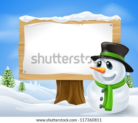 Christmas Snowman and large wooden Christmas sign with copyspace - stock photo