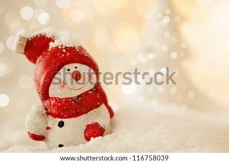 christmas snowman decoration - stock photo