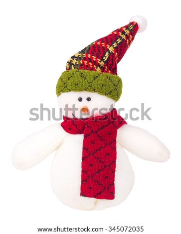 Christmas snowman decoration isolated on white background