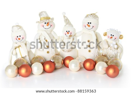 Christmas Snowman family on white. - stock photo