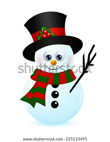 christmas snowman isolated over white background
