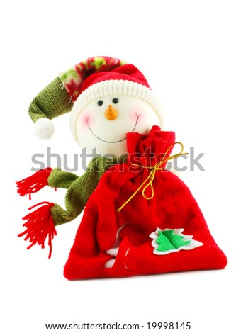 Christmas snowman with sack of gifts isolated on a white background