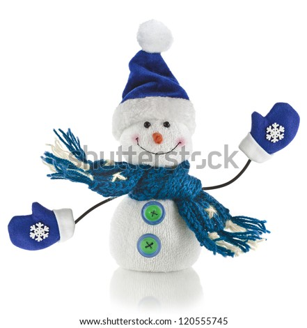 Christmas snowman with scarf and santa claus hat , isolated on white background - stock photo
