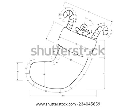 Christmas Sock Blueprint - stock photo