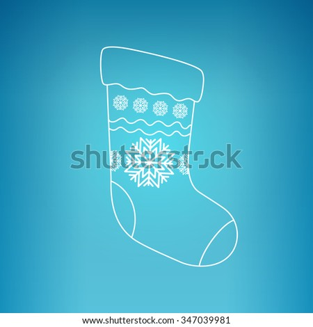 Christmas Sock Decorated Snowflakes on a Blue Background,  Christmas Decorations, Drawing in Linear Style  - stock photo