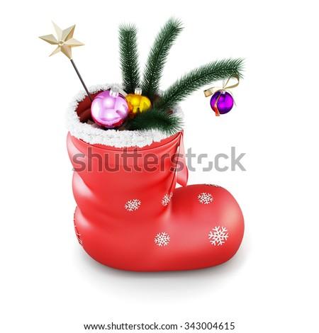 Christmas sock with gifts isolated on white background. 3d render image. - stock photo