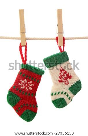 Christmas socks isolated on white background - stock photo