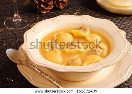 Christmas soup. Traditional Catalan soup called Escudella de Nadal or ...
