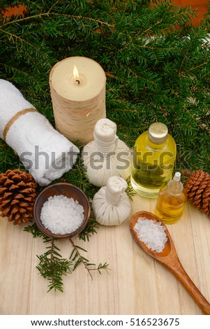 Christmas spa set on wooden background