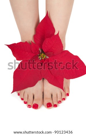 Christmas spa with pedicured feet - stock photo