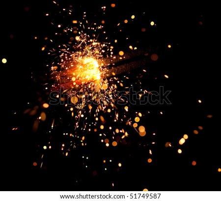 christmas sparkler - stock photo