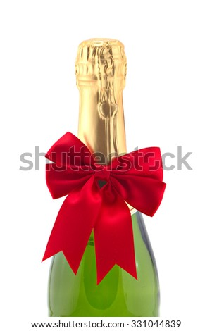 Christmas sparkling wine isolated, shallow focus - stock photo