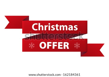 Christmas Special offer red ribbon banner icon isolated on white background. Illustration