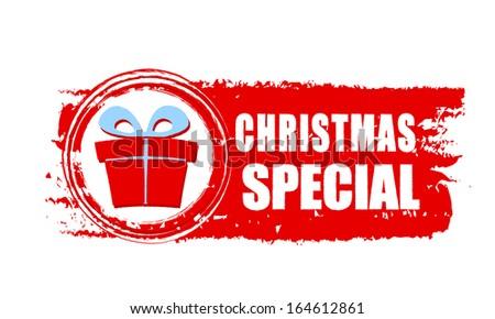 Christmas Special Text Gift Box Sign Stock Illustration 164612861