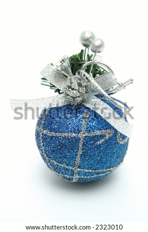 Christmas sphere of dark blue color with a pattern vertically - stock photo