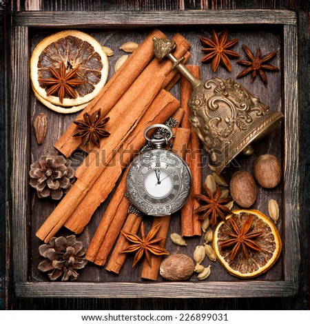 Christmas spices and decoration in vintage box.  Christmas food background  - stock photo