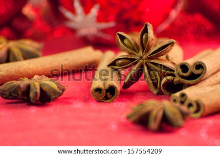 Christmas spices and decorations - stock photo