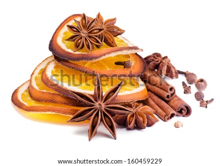 Christmas spices,anise , cinnamon and orange segments - stock photo