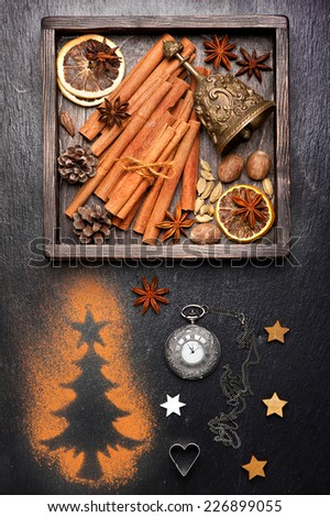 Christmas spices for baking and decoration. Christmas background