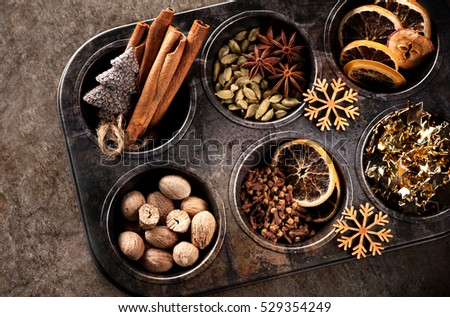 Christmas spices for baking Stollen and cookies