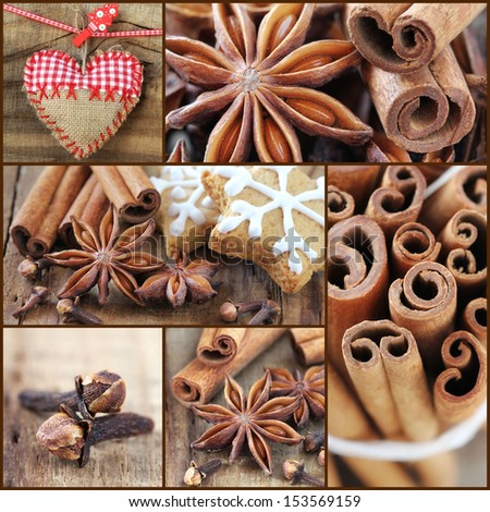 Christmas spirit collage. Assortment of festive cookie baking and main ingredients - cinnamon, star anise and cloves - stock photo