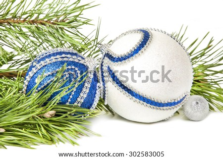 Christmas spruce and blue with white glitter balls isolated - stock photo