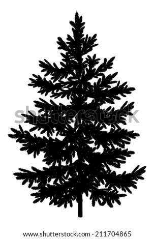 Christmas spruce fir tree black silhouette isolated on white background. - stock photo