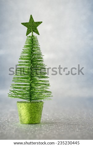 Christmas spruce - silver bokeh defocused.Stock image. - stock photo