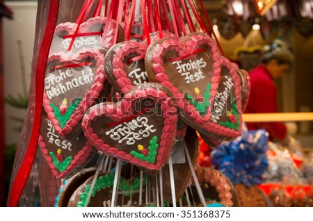 christmas stall with candy hearts with christmas wishes on it - stock photo