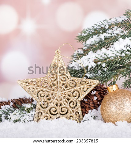 Christmas star and ball with snowy evergreen tree branch