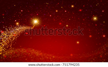 Christmas star and red abstract sky.