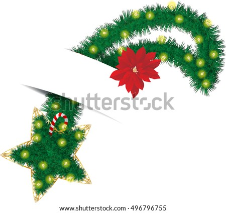 Christmas star, made as pine tree holiday wreath with lights, ornaments and decorations.
