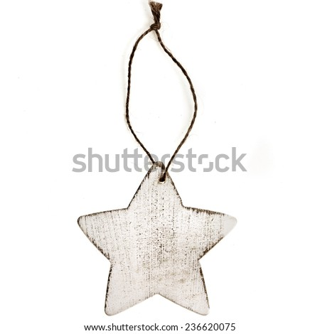 Christmas star made of wood with rope isolated on white - stock photo