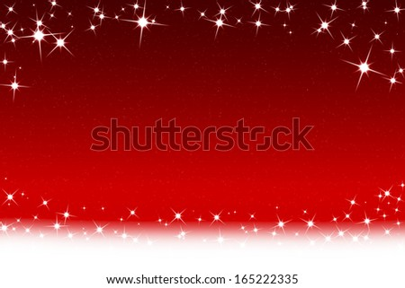 Christmas Stars And Snowflakes Red White Background - stock photo