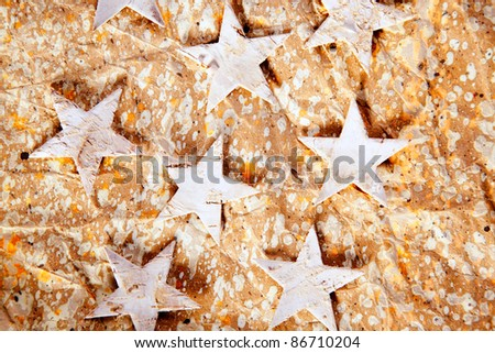 christmas stars background on recycle crumpled paper