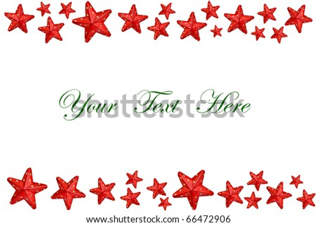 Christmas stars decoration on white background with space for message