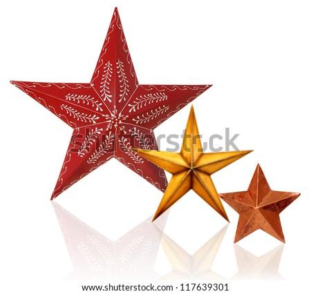 Christmas stars studio isolated with reflection - stock photo