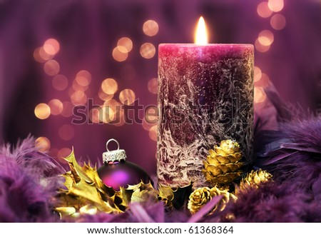 christmas still life in purple colors - stock photo