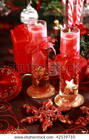 Christmas still life in red tone