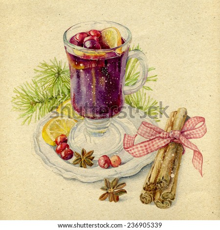 Christmas still life with a picture of drinks hot mulled wine in glass goblet with fir branches with cinnamon sticks , tied with a ribbon , with berries and lemon wedges . - stock photo