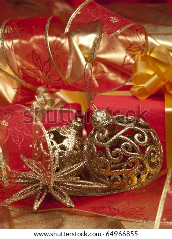 Christmas still life with decorations and  gifts