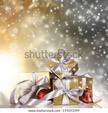 Christmas still life with falling snow - stock photo