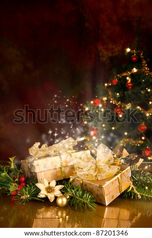 Christmas still life with gifts and tree - stock photo