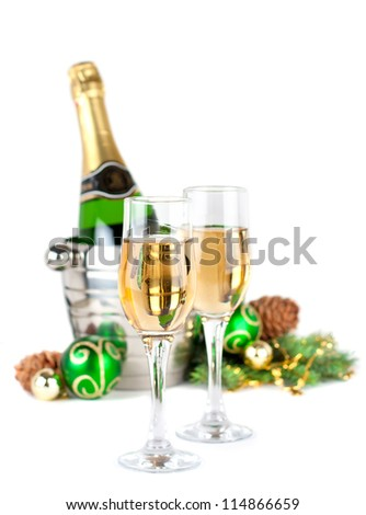 Christmas still life  with glasses of champagne - stock photo