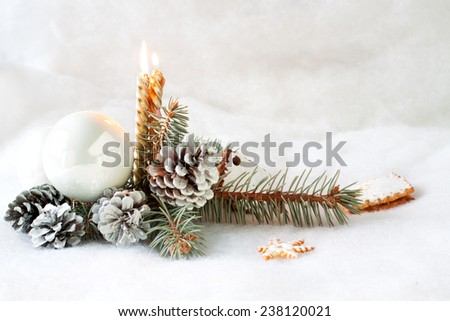Christmas still life with golden candles - stock photo